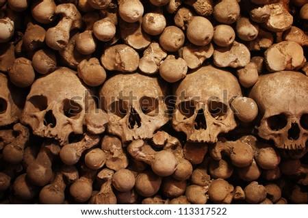 Skulls and bones as Halloween spooky concept. - stock photo