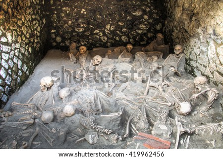 Skulls at the ruins of Herculaneum excavation in Ercolaono near Naples, Italy