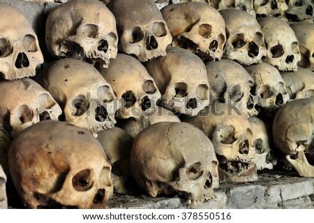 Skulls in Opdas Mass Burial Cave, Benguet, Philippines - stock photo