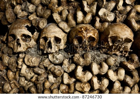 Skulls in the Catacombs in Paris - stock photo