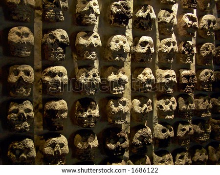 Skulls in the museum of Tenochtitlan (Mexico-city) - stock photo