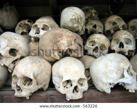 Skulls of victims in the Killing Fields in Phnom Penh, Cambodia - stock photo