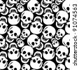 skulls pattern, abstract seamless texture; art illustration - stock vector