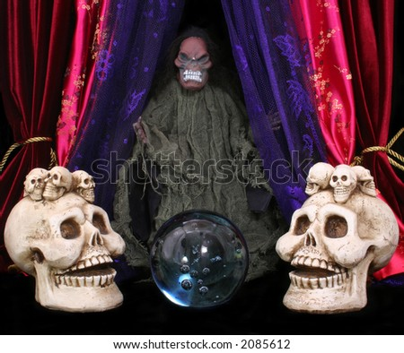 Skulls With Crystal Ball and Monster on Black and Red Background - stock photo