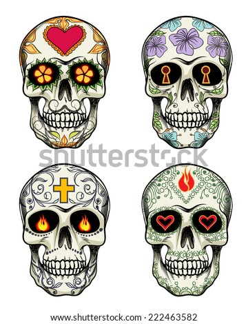 Skulls with flowers for Day of the Dead - stock photo