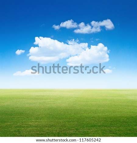 Sky and clear grass. Summer background - stock photo