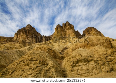 Sky and cliffs at Golden Canyon in Death Valley California USA