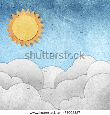 sky and cloud recycled paper - stock photo