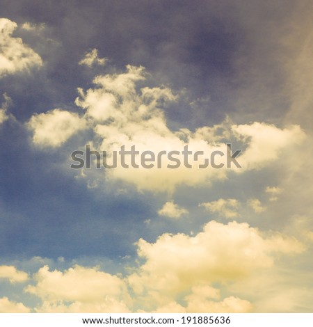 sky and cloud. Retro filter - stock photo
