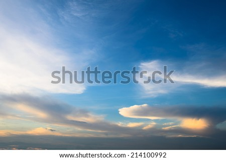 Sky and clouds, sunset - stock photo