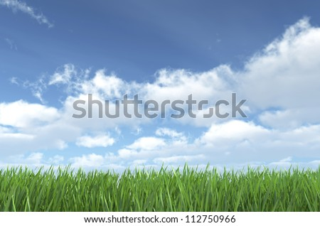 Sky and Grass - Nature Background - Sky and Grass - High quality render - stock photo