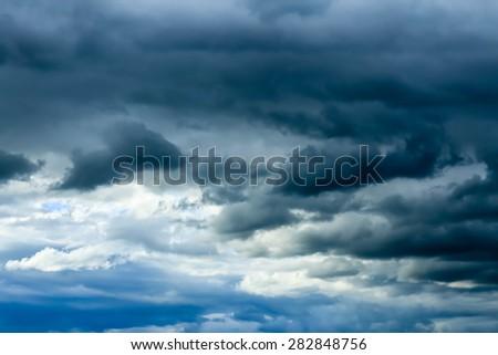 Sky and rain clouds. - stock photo