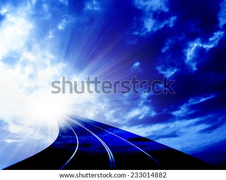 sky and road - stock photo