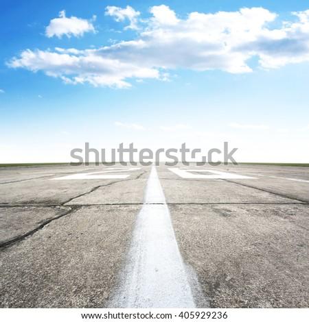 sky and runway  - stock photo