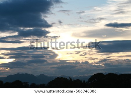 Sky and sun with mountains when sunset time
