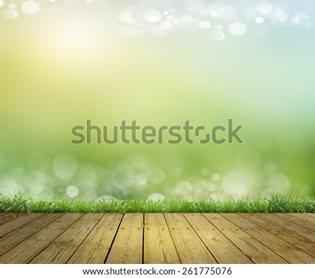 sky as background and a wooden floor - stock photo