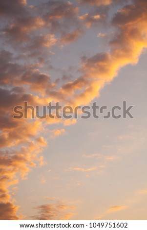 Sky at sunset, vertical background, space for sample text