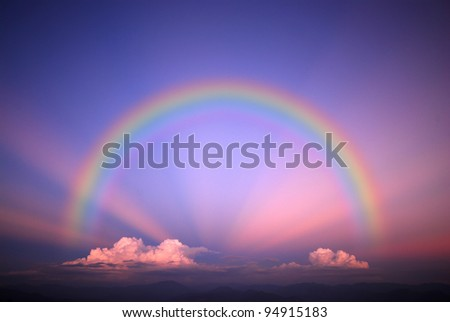 Sky background landscape beam beam cloud light Rainbow - stock photo