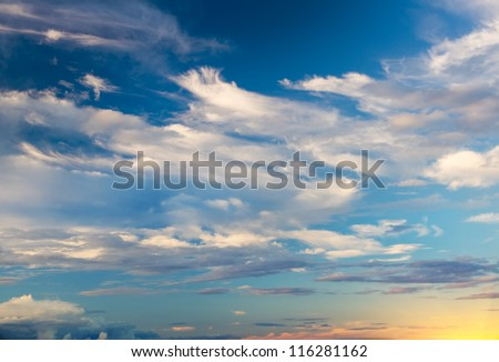 Sky background on sunrise. Nature composition. - stock photo