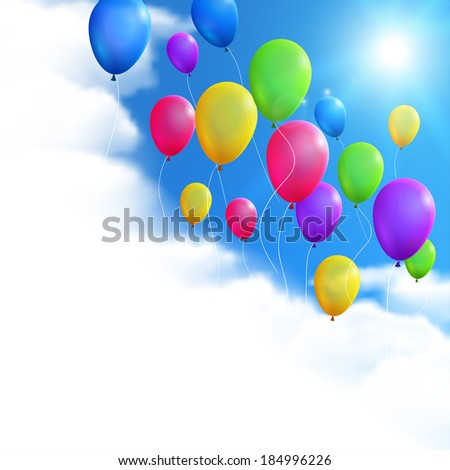 Sky Background with Balloons. Raster version. - stock photo
