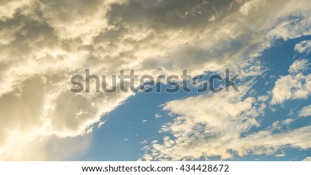 Sky background with the fluffy white clouds, White clouds in sky, blue sky background with tiny clouds