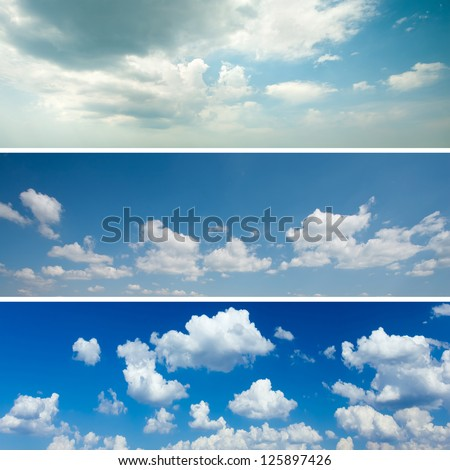 Sky backgrounds set - stock photo