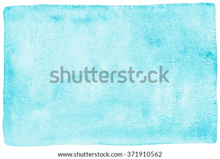 Sky blue watercolor abstract background. Painted texture with watercolour stains. Hand drawn template with uneven edges. - stock photo