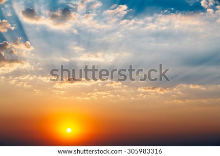 Sky, Bright Blue, Orange And Yellow Colors Sun Sunset Sunrise With Clouds. Instant Photo, Toned Image, - stock photo
