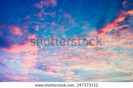 Sky, Bright Blue, Pink And Yellow Colors Sunset. Instant Photo, Toned Image - stock photo