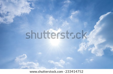Sky clouds and sun background and textrue - stock photo