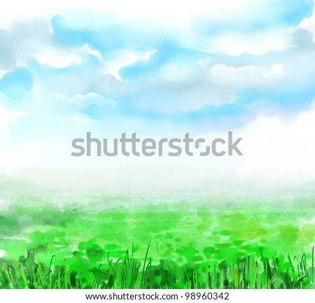 Sky, clouds, huge green field, spring, summer,landscape. Drawing is executed in equipment a water color - stock photo