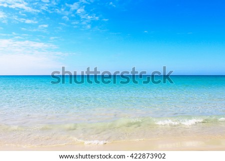 Sky cloudy nature ocean outdoors on a bright blue. Beautiful background in the summer.Seascape - stock photo