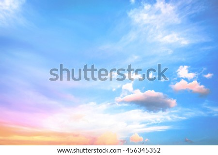 Sky concept. Dawn Love Line Soft Orange Yellow Pink Blue Green White Sun Ray Glow Art Sunny Dusk Power Vivid Freedom Scene Cloud Peace Color Nature Haze Heaven Paradise Fluffy Design City Earth Plain - stock photo