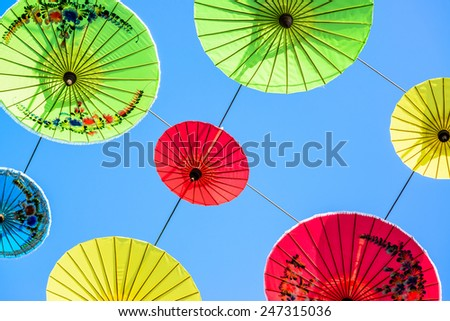 Sky decorated with colored umbrellas ,Chiang Mai, Thailand.