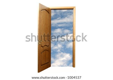 Sky in door. White background - stock photo