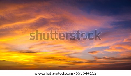 Sky in evening during sunset