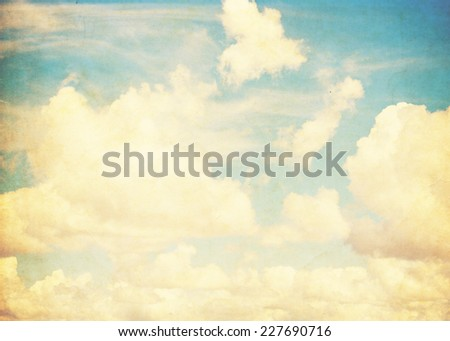 Sky in sunny day with white clouds ,vintage color toned