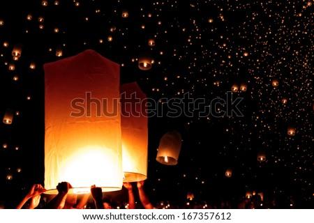 Sky lanterns firework festival,Chiang Mai ,Thailand, Loy Krathong and Yi Peng Festival, selective focus - stock photo