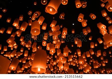 Sky lanterns, Flying Lanterns - stock photo