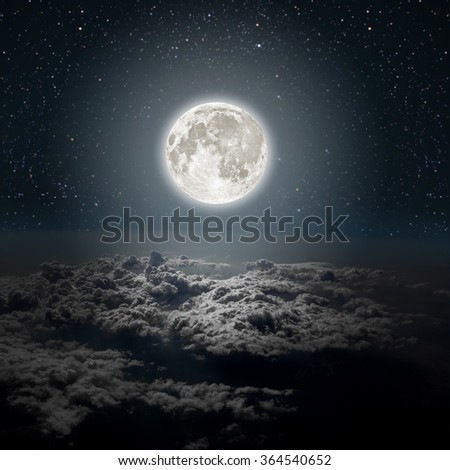 sky night  with stars and moon and clouds backgrounds.  Elements of this image furnished by NASA - stock photo