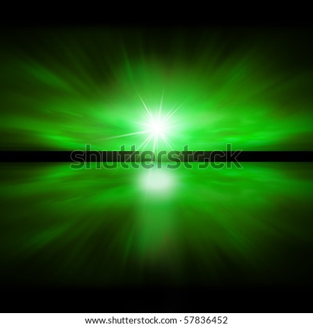 Sky of Green Light - fractal landscape