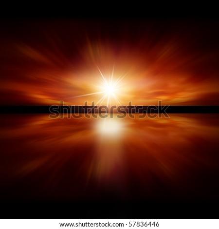 Sky of Red Light - fractal landscape - stock photo