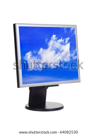 Sky on computer screen isolated on white background - stock photo