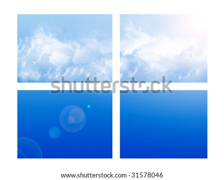 Sky on window on white background. Blue illustration - stock photo
