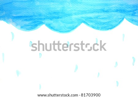 sky raining by watercolour - stock photo