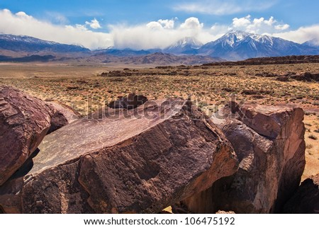 Sky Rock in the Eastern Sierras is a five thousand year old petroglyph and is one of two on the planet facing the sky. - stock photo