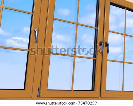 Sky seen through an wooden window - stock photo