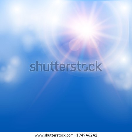 Sky, sun& cloud abstract background. Raster illustration - stock photo