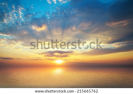 Sky sundown and water reflection - stock photo