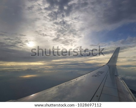 Sky Sunset View inside Airplane